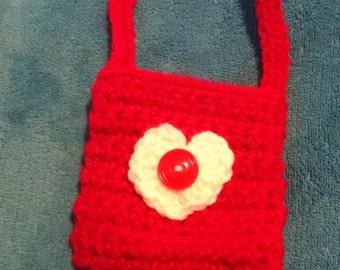 girl's purse, valentine purse, valentine bag, red bag, red purse, crocheted bag, crocheted girl's purse