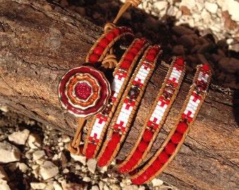 Leather wrap bracelet and crystals mijuki