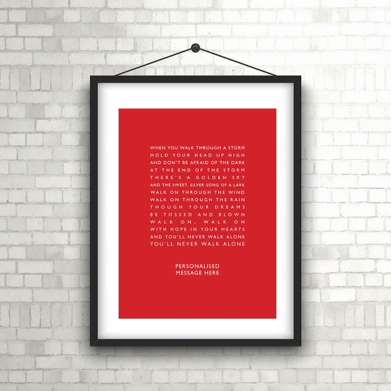 "Liverpool ""You'll Never Walk Alone"" Personalised Print"