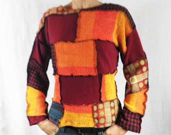 Orange & Maroon Patchwork Sweater  Size S / M