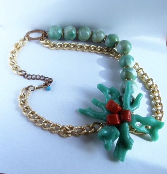 Vintage Faux Coral Pendant Necklace Red & Turquoise Color