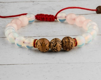 Rose Quartz Bracelet, Moonstone Bracelet, Pink Bead Bracelet, Pink Bracelet, Women Bead Bracelet, Meditation bracelet