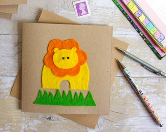 Kids Animal Card, Blank Animal Greeting Card, Lion Birthday, Handmade Felt Card, Kids Lion Card, Child Gift Card, Jungle Animal Card, Lion
