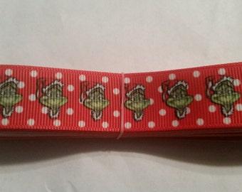 "7/8"" Christmas Grinch red ribbon"