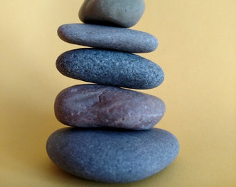 Maine Beach Stone Cairn (c66) Set of 6 Stacked Loose Undrilled Smooth Rocks - Waldorf Art Decor Zen Meditation Wiccan Pagan Classroom Desk