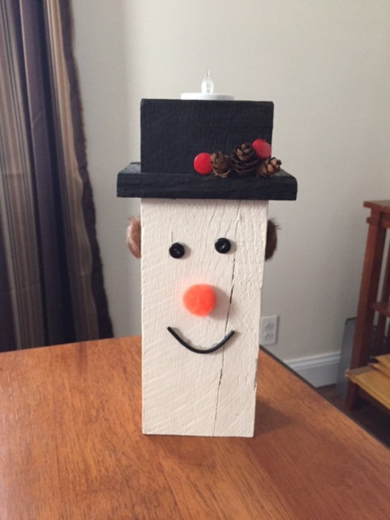 Items similar to wood snowman tea light holder rustic for Rustic snowman decor