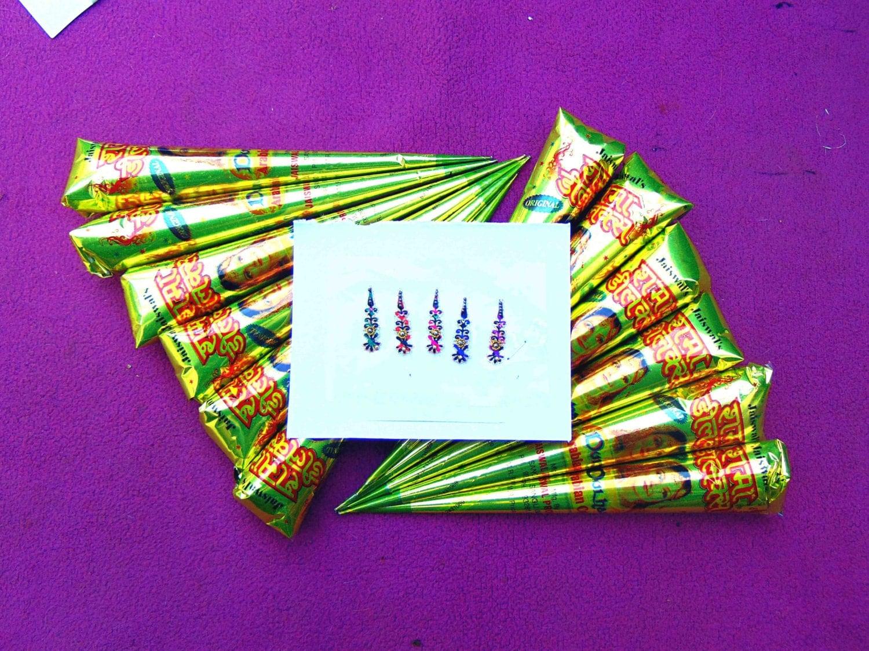Mehndi Henna Kit Instructions : Henna cones bindi pack kit natural by sanskriti