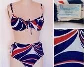 60s Vintage Swimsuit/ 1960s Bikini/ Mod Red, White 'n Blue Go-Go 2 Piece Bathing Suit/ Demi Top & High Waisted Bottoms/ Vassarette Swimwear