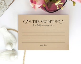 Wedding advice cards PRINTED on kraft card stock | The secret to a happy marriage is... | Wishes for the bride and groom | Pack of 50