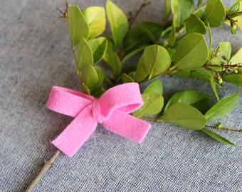 Mini Bright Pink Felt Hair Bow