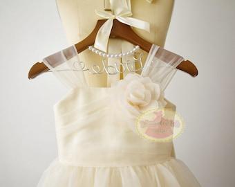 Champagne Organza Flower Girl Dress Junior Bridesmaid Wedding Party DressF0073