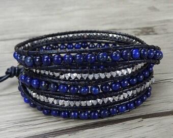 leather wrap bracelet navy wrap bracelet lapis lazuli bead bracelet boho wrap bracelet gypsy gemstone bracelet leather bead bracelet SL-0278