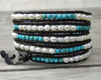 Multi Colors 5 Row Beaded Bracelet Natural Stone Bracelet Leather Bracelet Gift For Her Bracelet Boho Wrap Bracelet SL-0094