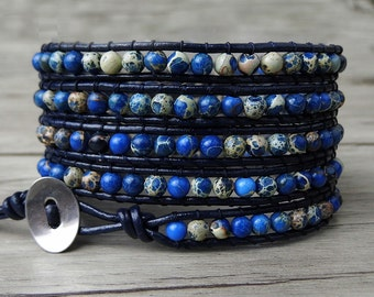 beaded wrap bracelet Blue jasper beads bracelet gemstone wrap bracelet boho bracelet yoga bracelet 5 wraps bracelet Leather Jewelry SL-0185