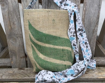 Crossbody Burlap Coffee Bag Purse - Blue and Gray Paint Splatter Pattern