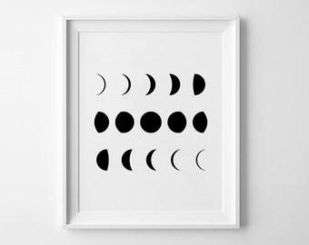 Moon Phases, Moon Wall Art, Minimalist Art, Printable Poster, Scandinavian Poster, Moon Art, Geometric Prints, Modern Decor, Moon Phases
