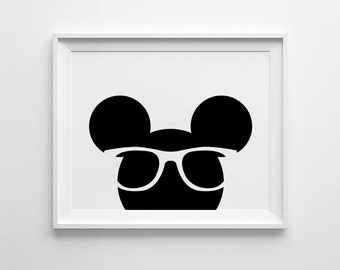 Minimalist mouse Wall Art, Mouse with Glasses, Mouse Art, Scandinavian Nursery, Black and white, Printable Nursery Art, Kids Wall Art Prints