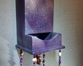 purple painted sparkling wood matchstick holder wall hanging decor, decorative hanging wall art conversation piece medallions bells gift art