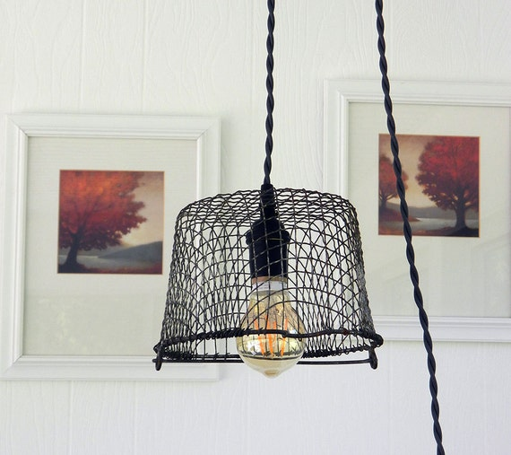 Items Similar To Industrial Lighting: Items Similar To Wire Basket Pendant Light, Industrial
