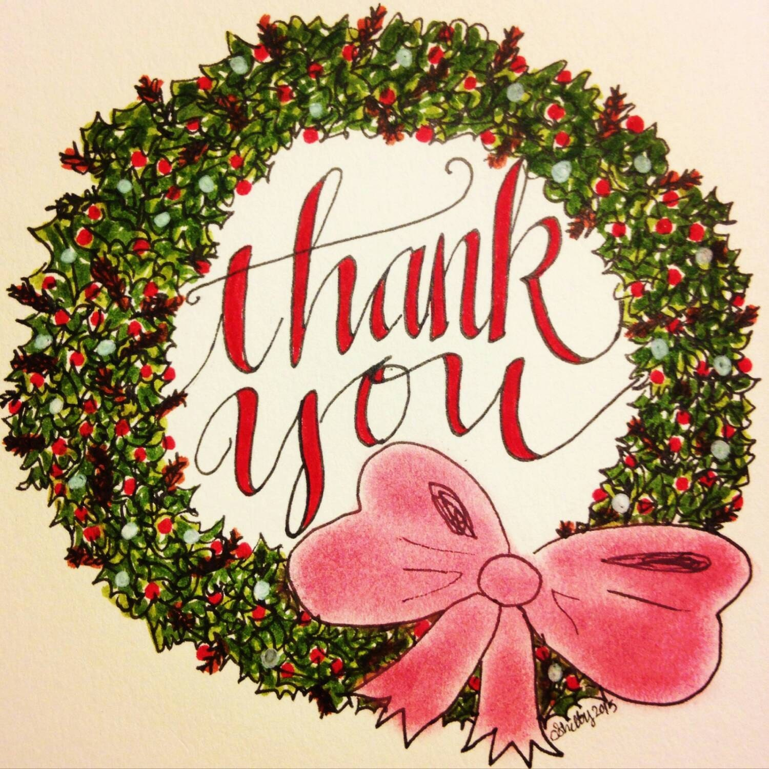 Christmas Thank You Note Cards Wreath