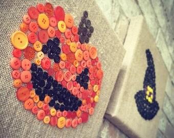 Halloween jack-o'-lantern button art