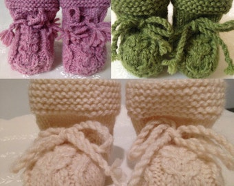 Knitted wool baby booties, Handmade baby booties, Girl's baby booties, Boys's baby booties