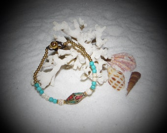 Turquoise and Diamond Shaped Charm Bracelet