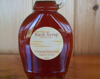 May 1: PRE-ORDER 8 oz BIRCH Syrup now. Made In Maine. Pancake Style. Tastes Different than pure Maple. Kirkmann Homestead