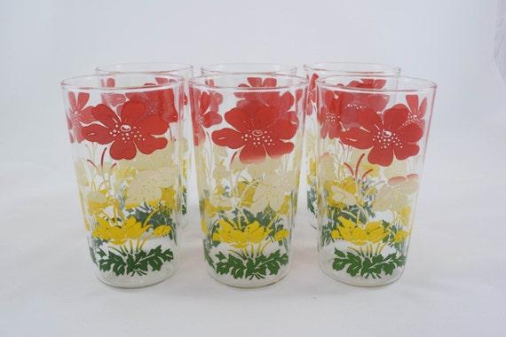 Vintage mid century 1950s drinking glasses hand painted floral for Hand painted drinking glasses
