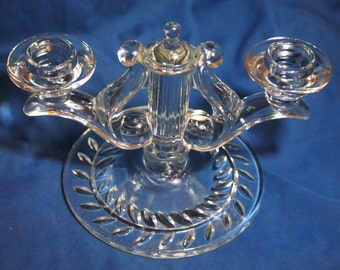 "Indiana Glass Double Candleholder ""Laurel"""