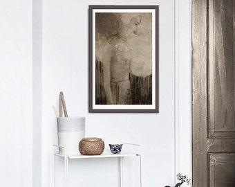 Sepia,romantic woman print, vintage,original painting, home decor, figure painting,retro style,texture,