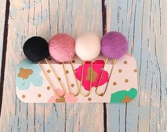 Pom planner clip - planner accessories -  felt wool ball - paper clips - pom clip - cute planner clips - page marker - planner supply