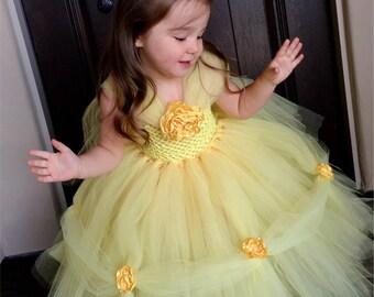 Belle Princess Dress- Princess Dress - Princess Tutu Dress - Disney Costume- Halloween Costume- Beauty and the Beast- Belle Costume
