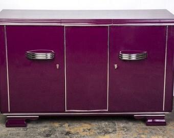 Posh Streamlined Art Deco Sideboard In Plum
