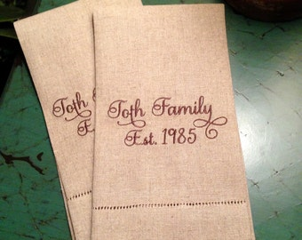 Natural Linen Personalized Hand Towels