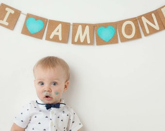 I am one banner, baby boy or baby girl's 1st birthday party decor, cake smash photo prop, turquoise