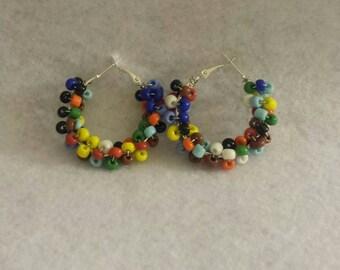 Seed Bead Jewelry - Multicolored Earrings - Beaded Hoops - Hoops - Colorful Beaded Jewelry - Beaded Hoop Earrings - Small Earrings -