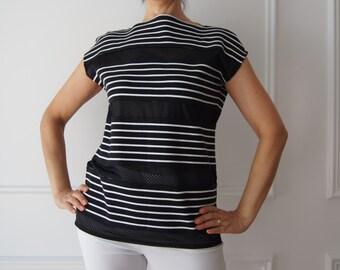 Black and white jumper sweater, striped shirt, capri model, Italian fashion