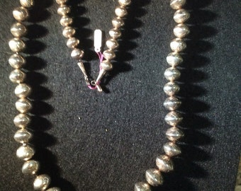 Vintage sterling beaded necklace very large