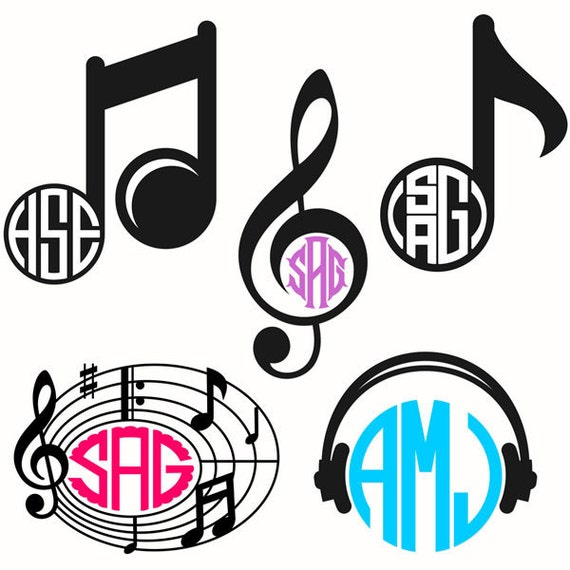 Music Notes Monogram Cuttable Design Pack SVG, DXF, EPS use with ...