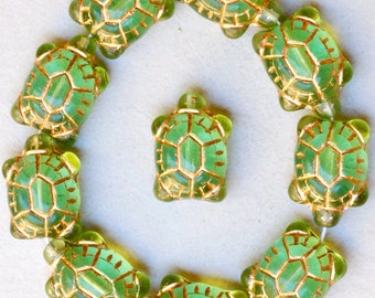Large Glass Turtle Bead with Gold Inlay- Czech Glass Beads - 19mm x 14mm - Various Colors - Qty 5