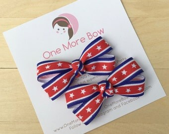 Red White Blue 4th of July Patriotic Hair Bows Hairbows Barrette Clip Clips