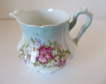 VINTAGE Moulded Cream Pitcher with Faded Blue and Fushcia Flowers