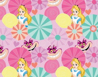 Alice in Wonderland  Alice and Cat Fabric From Springs Creative