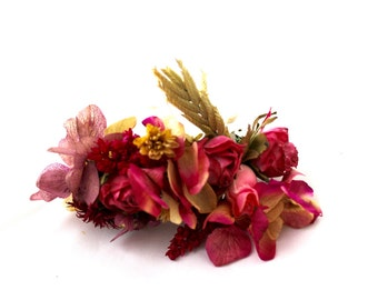 Pink,flower,barrette,dried,flowers,pink,hydrangea,wheat,oats,mauve, pink, purple, preserved, seeds, wheat, oats,boho,natural,chic,romantic