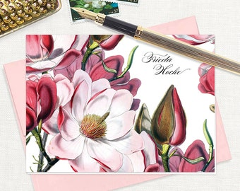 personalized stationery set - MAGNOLIA BLOSSOMS - set of 8 folded note cards - floral stationary - botanical flower