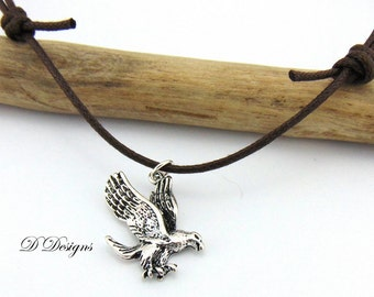 Mens Eagle Necklace,Brown Adjustable Necklace, Eagle Cord Necklace, Mens Cord Choker, , gifts for him