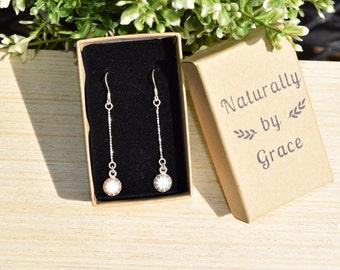 Opal Earrings, Dangle Opal Earrings, White Opal Earrings, Opal Drop Earrings, Sterling Silver Opal Earrings, Wedding Earrings