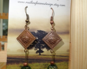 Antique look bronze and green earrings