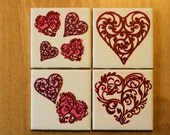 Valentine's Day Heart Coasters -Set of 4